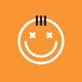 Усмехаясь значок стороны с чубом Smiley, emoji иллюстрация вектора