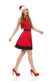 Усмехаясь идти девушки santa Стоковое Изображение