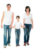 Усмехаясь идти семьи изолированный на белизне Стоковые Изображения