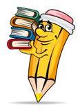 Усмехаясь карандаш с книгами Стоковая Фотография RF