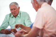 Усмехаясь карточки людей старшиев играя Стоковые Фотографии RF