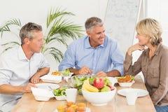 Усмехаясь коллеги дела имея обед совместно Стоковое Изображение RF