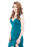 Усмехаясь красивая девушка в голубом платье стоковая фотография rf