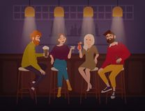 Усмехаясь люди и женщины одели в стильной одежде сидя на баре, говоря и выпивая алкогольные напитки жизнерадостно бесплатная иллюстрация