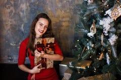 Усмехаясь маленькая девочка в красном платье с настоящими моментами и подарочными коробками под рождественской елкой стоковые фото