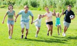 Усмехаясь мать и отец с 4 детьми на зеленой лужайке Стоковые Фотографии RF