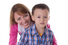 Усмехаясь мать и сын Стоковые Фото