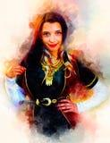 Усмехаясь молодая женщина с красивым платьем и мягко запачканной предпосылкой акварели Стоковые Фотографии RF