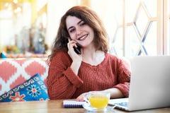 Усмехаясь молодая привлекательная женщина девушки с красными длинными волосами и freck Стоковые Изображения