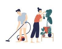 Усмехаясь молодого дом чистки человека и женщины совместно Пол мальчика вакуумируя дома и девушка позаботить о завод Ежедневный бесплатная иллюстрация