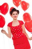 Усмехаясь молодая привлекательная женщина девушки при красные изолированные губы стоковая фотография rf