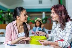 Усмехаясь молодые женщины при хозяйственная сумка сидя совместно и говорить Стоковое Изображение
