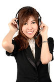 Усмехаясь оператор центра телефонного обслуживания женщины женщина дела 2 Стоковое Фото