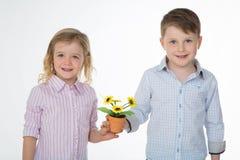 Усмехаясь пары детей на белой предпосылке Стоковое Фото