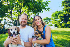 Усмехаясь пары представляя с их собаками в лете Стоковые Изображения RF