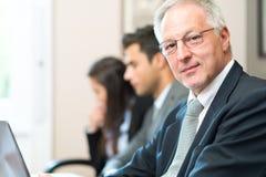 Усмехаясь портрет бизнесмена перед его командой стоковое изображение rf