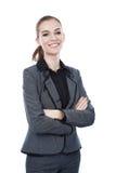 Усмехаясь портрет бизнес-леди. Пересеченные оружия Стоковые Фотографии RF