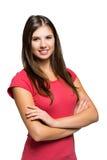 Усмехаясь портрет молодой женщины изолированный на белизне Стоковая Фотография