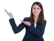 Усмехаясь представлять бизнес-леди - изолированный над белым backgrou Стоковое Изображение RF