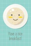Усмехаясь плита с кашой овсяной каши еда здоровая Стоковое Изображение