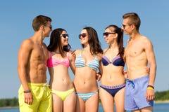 Усмехаясь друзья в солнечных очках на пляже лета Стоковое Изображение