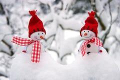2 усмехаясь друз снеговиков в снеге Стоковое фото RF