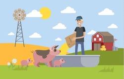 Усмехаясь свинья мужского фермера подавая на ферме иллюстрация штока