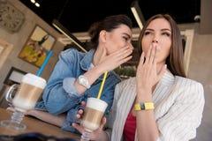 Усмехаясь секреты молодых женщин злословя Стоковые Изображения