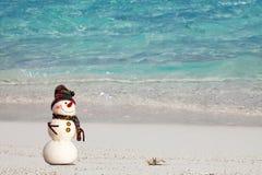 Усмехаясь снеговик с и малый краб ослабляя на тропическом пляже Праздники Новых Годов и рождества в горячей концепции стран Стоковое фото RF