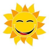 Усмехаясь солнце на белой предпосылке иллюстрация штока