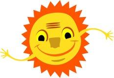 Усмехаясь солнце с руками Стоковое Изображение RF