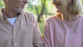Усмехаясь старый обнимать пар, представляя для камеры, счастье благополучия, забота сток-видео