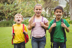 Усмехаясь студенты стоя вместе с сумками школы Стоковое Фото