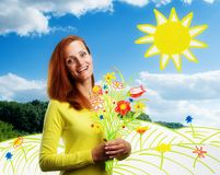 Усмехаясь счастливая молодая женщина с цветками иллюстрация вектора