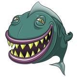 Усмехаясь счастливые рыбы шаржа изолированные на белизне Стоковое Фото