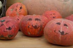 Усмехаясь тыквы, установка на тему хеллоуина Стоковые Фотографии RF