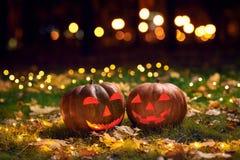 2 усмехаясь тыквы хеллоуина на траве с светами в парке на ноче Стоковая Фотография