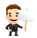 Усмехаясь характер бизнесмена в черном костюме держа знак Стоковая Фотография RF