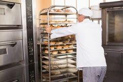 Усмехаясь хлебопек нажимая поднос хлеба Стоковое фото RF