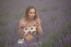 Усмехаясь цветки обнюхивать девушки в поле лаванды Стоковые Изображения RF
