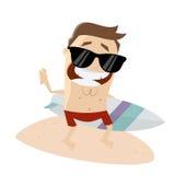 Усмехаясь человек с surfboard Стоковые Изображения RF