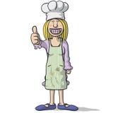 Усмехаясь шеф-повар женщины с большим пальцем руки вверх бесплатная иллюстрация