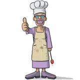 Усмехаясь шеф-повар женщины с большим пальцем руки вверх иллюстрация вектора