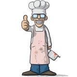 Усмехаясь шеф-повар с большим пальцем руки вверх иллюстрация вектора