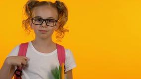 Усмехаясь школьница регулируя eyeglasses, держащ книги и смотреть камеру акции видеоматериалы