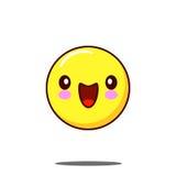 Усмехаясь kawaii значка смайлика Плоский вектор дизайна Стоковое Изображение RF