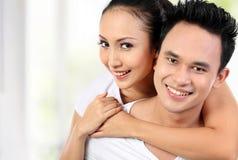 усмешка пар счастливая Стоковая Фотография