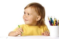 усмешка притяжки crayons ребенка милая Стоковые Изображения