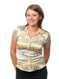 усмешки коричневой девушки с волосами Стоковое Фото