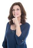 Усмотрение концепции: изолированный палец зрелой женщины касающий на mou стоковые изображения rf